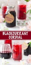 Blackcurrant cordial in a jar and glass with text overlay