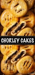 Collage of 2 Close up images of Chorley Cakes with text overlay