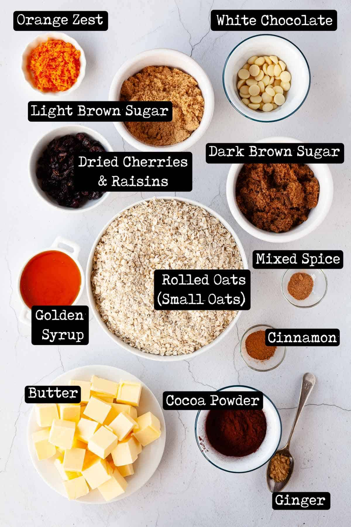 Ingredients with text overlay for oat bars with cocoa