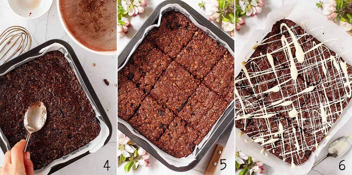 Step by Step collage showing chocolate flapjack in a tin before and after baking