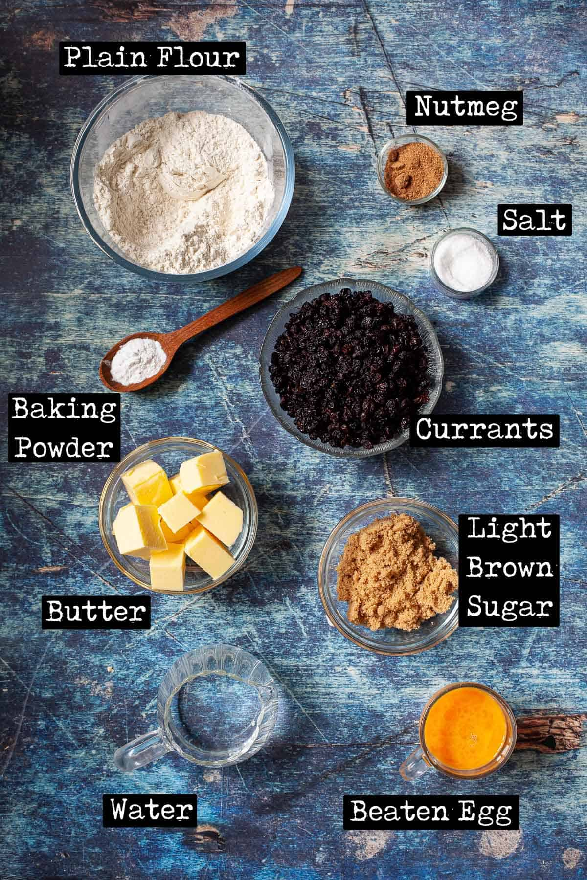 Ingredients for currant pastries with text overlay