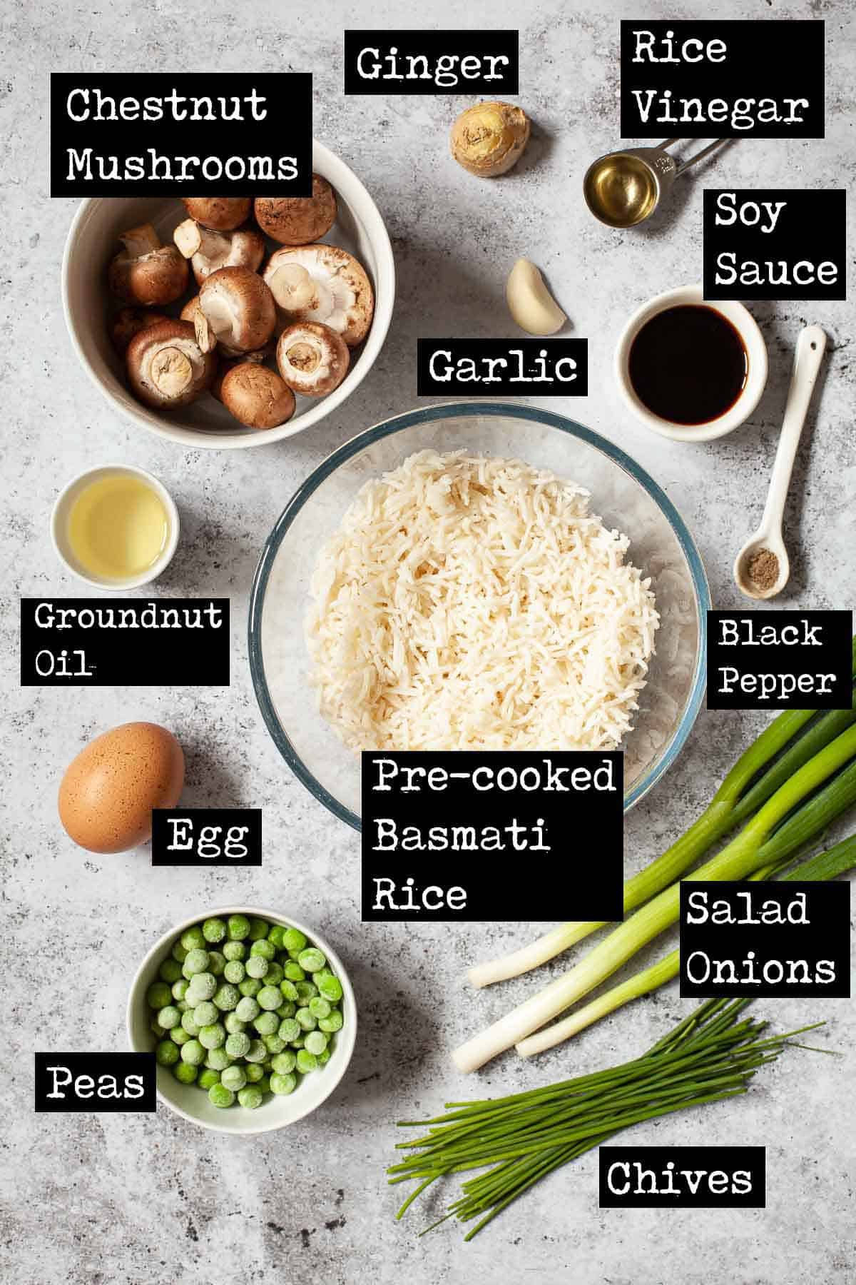 Ingredients for a vegetable rice recipe with text overlay