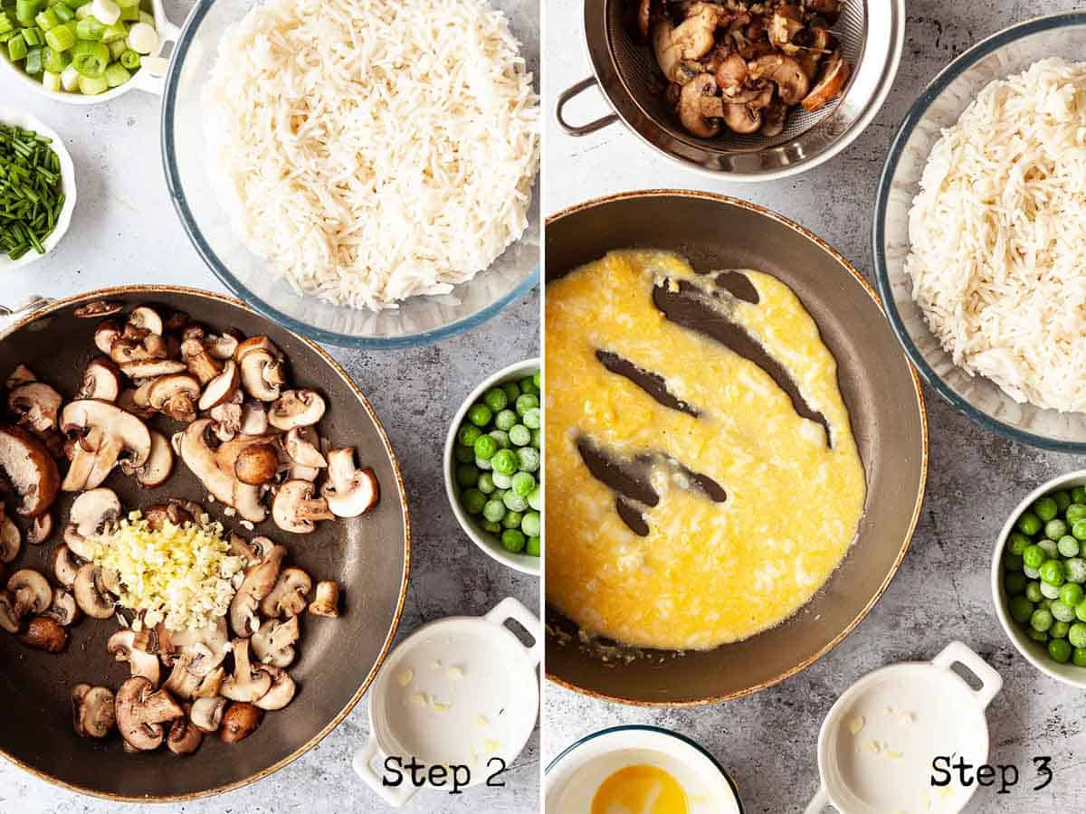 collage of images showing mushrooms in a pan and partially cooked egg in a pan