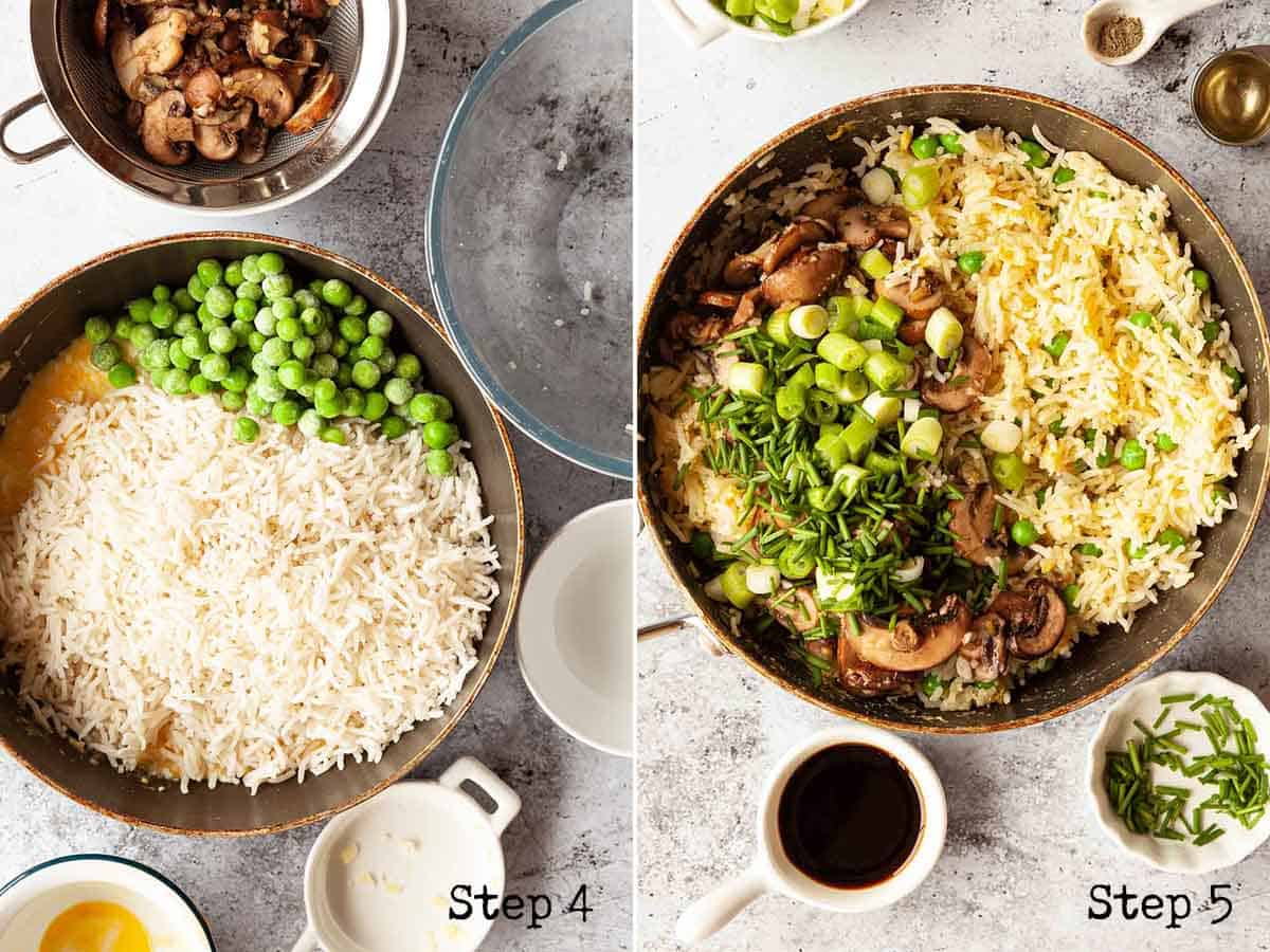 collage of images showing vegetables and rice being add to a pan