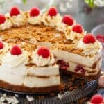 Biscoff cheesecake with raspberries - featured image