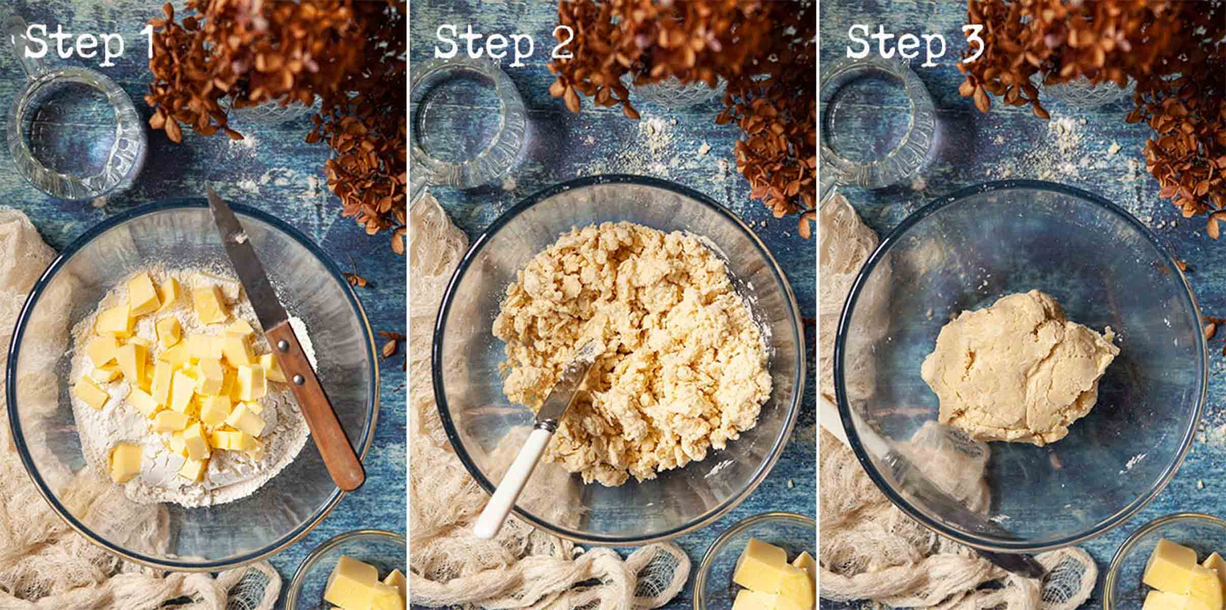 Collage of images showing shortcrust pastry being made by hand