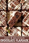 Chocolate flapjack with text overlay