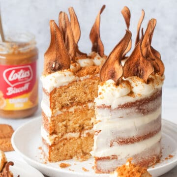 Biscoff Cake with Pear and White Chocolate