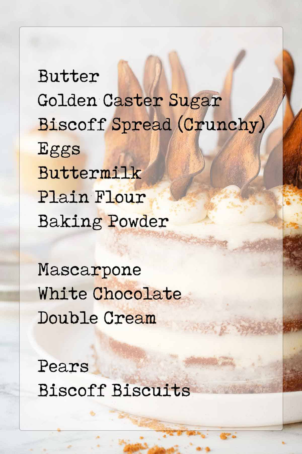 Layer cake with text overlay listing ingredients
