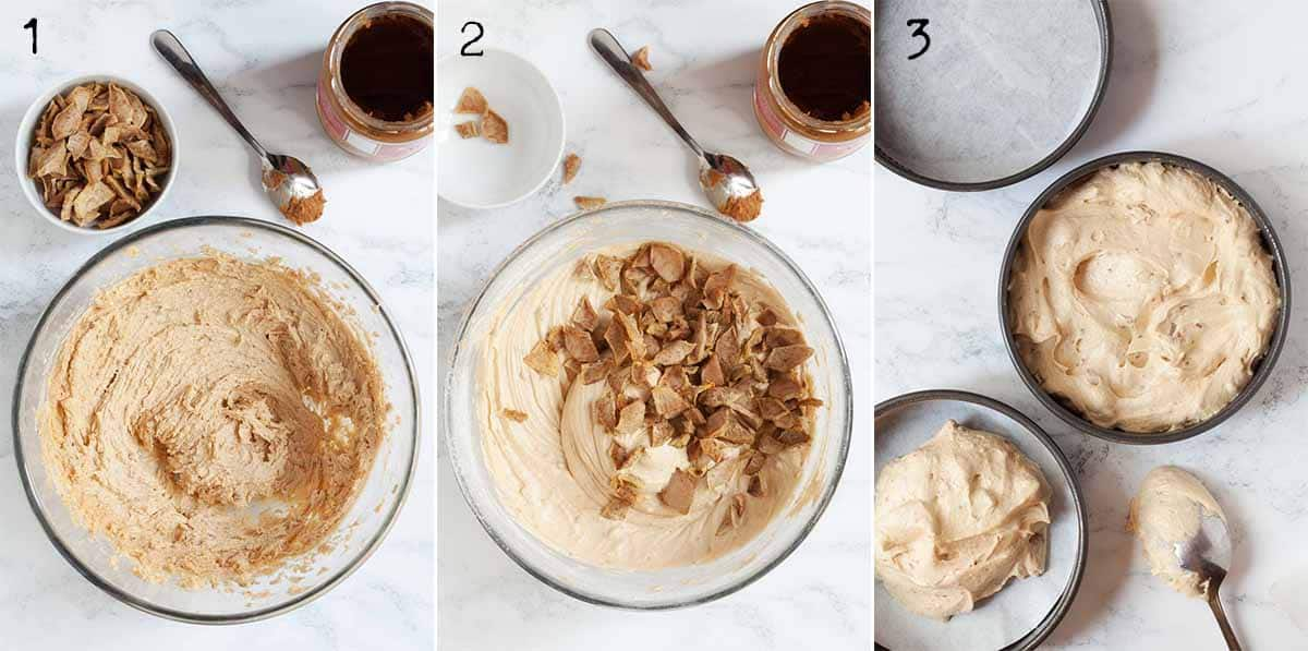 Collage of images showing cookie butter sponge batter being made