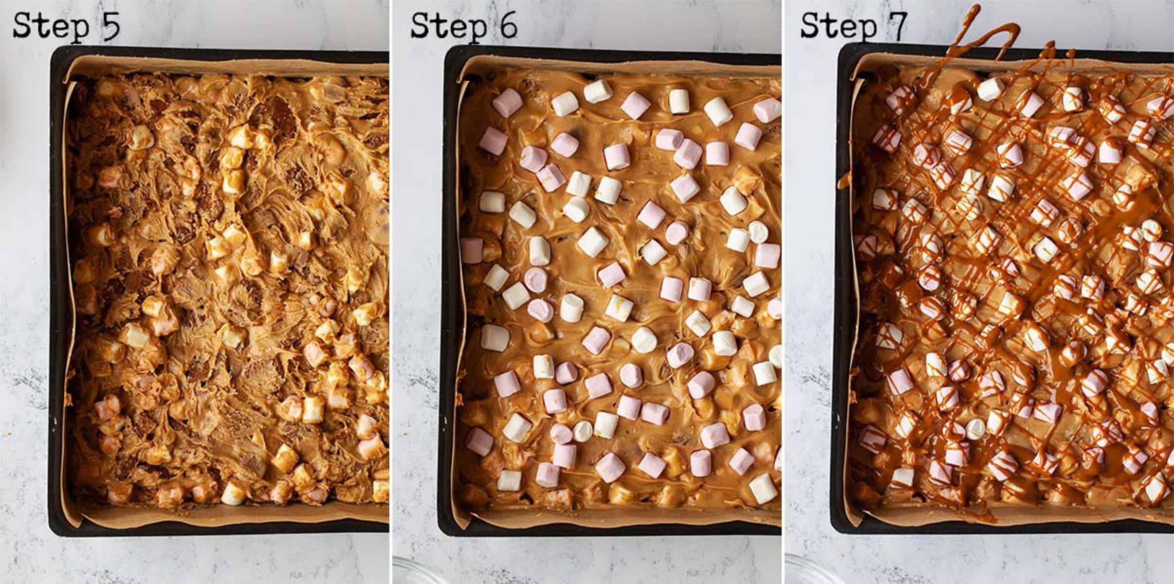 Collage of images showing a chocolate no-bake dessert being assembled in a tin
