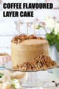 Coffee flavoured cake with text overlay
