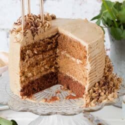 Coffee flavoured cake cut open to reveal three layers inside
