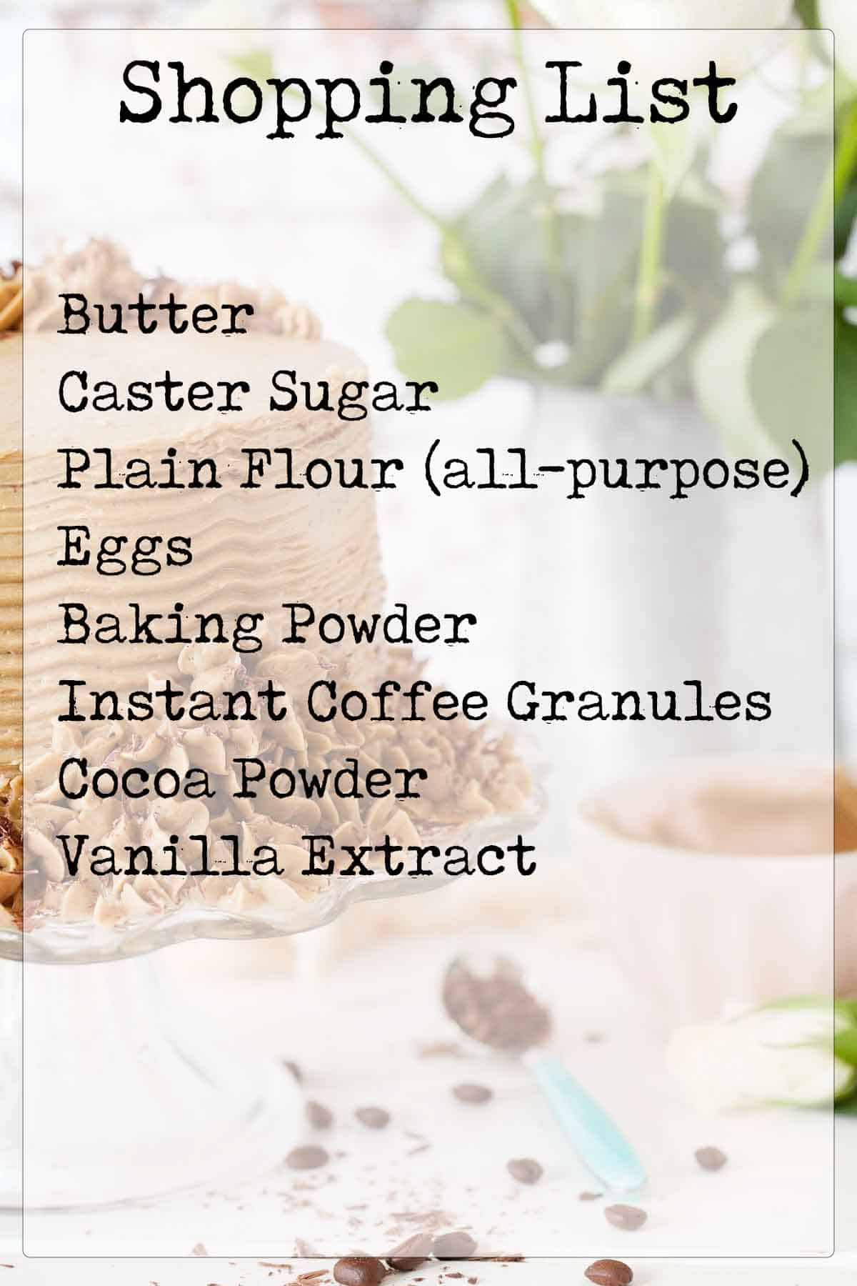 Text overlay ingredients list for a cake with an image of the cake behind