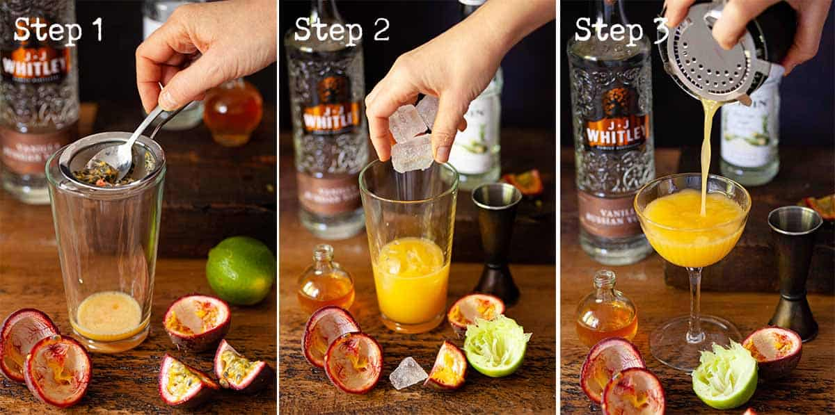 Collage of images showing a fruit based cocktail being made and poured