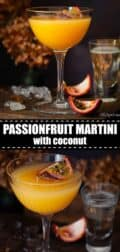 Passionfruit martini with text overlay