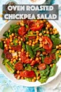 Roasted chickpea salad with text overlay