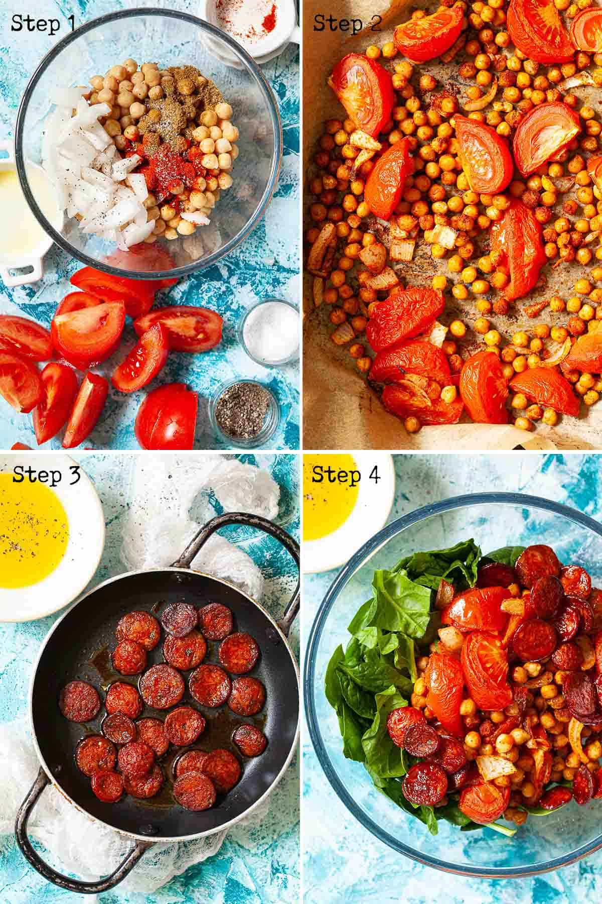 Collage of images showing a salad being made