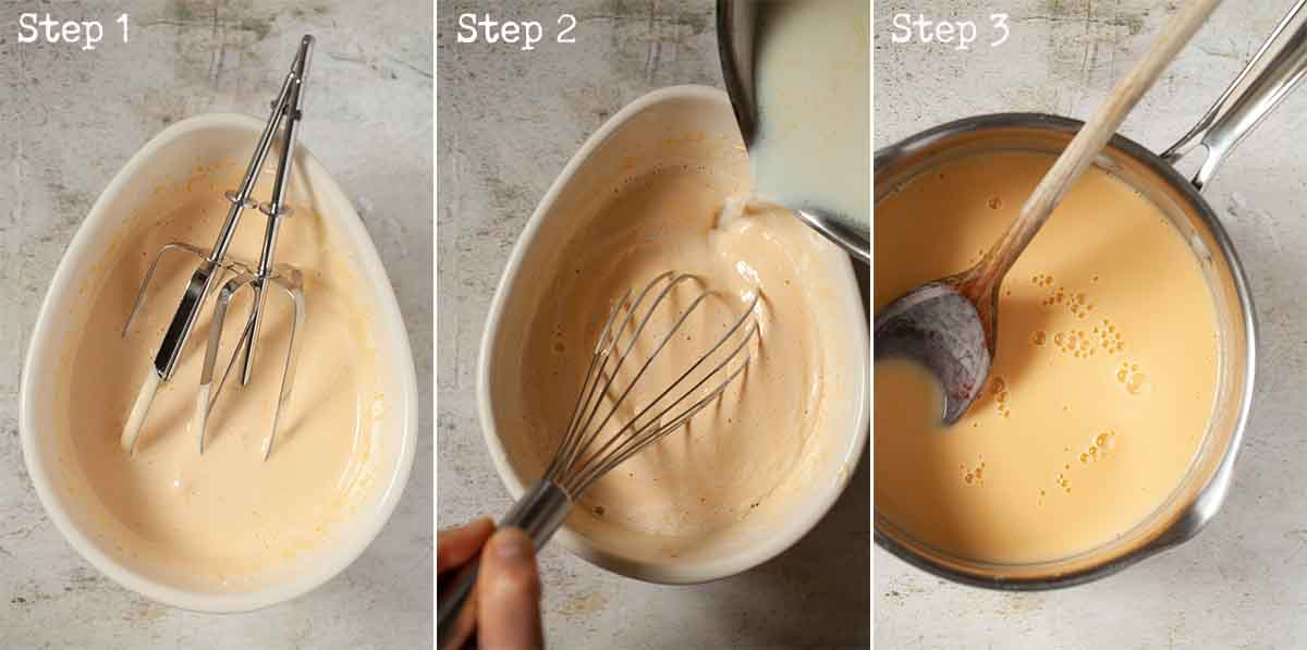 Collage of images showing custard being made