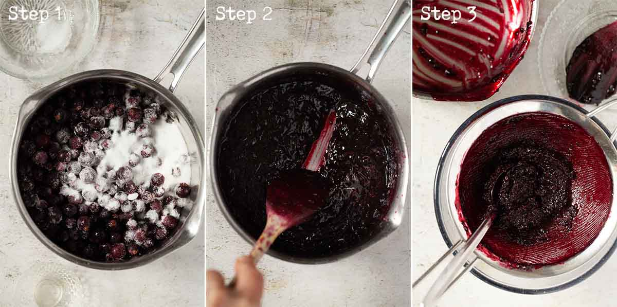Collage of images showing fruit puree being made