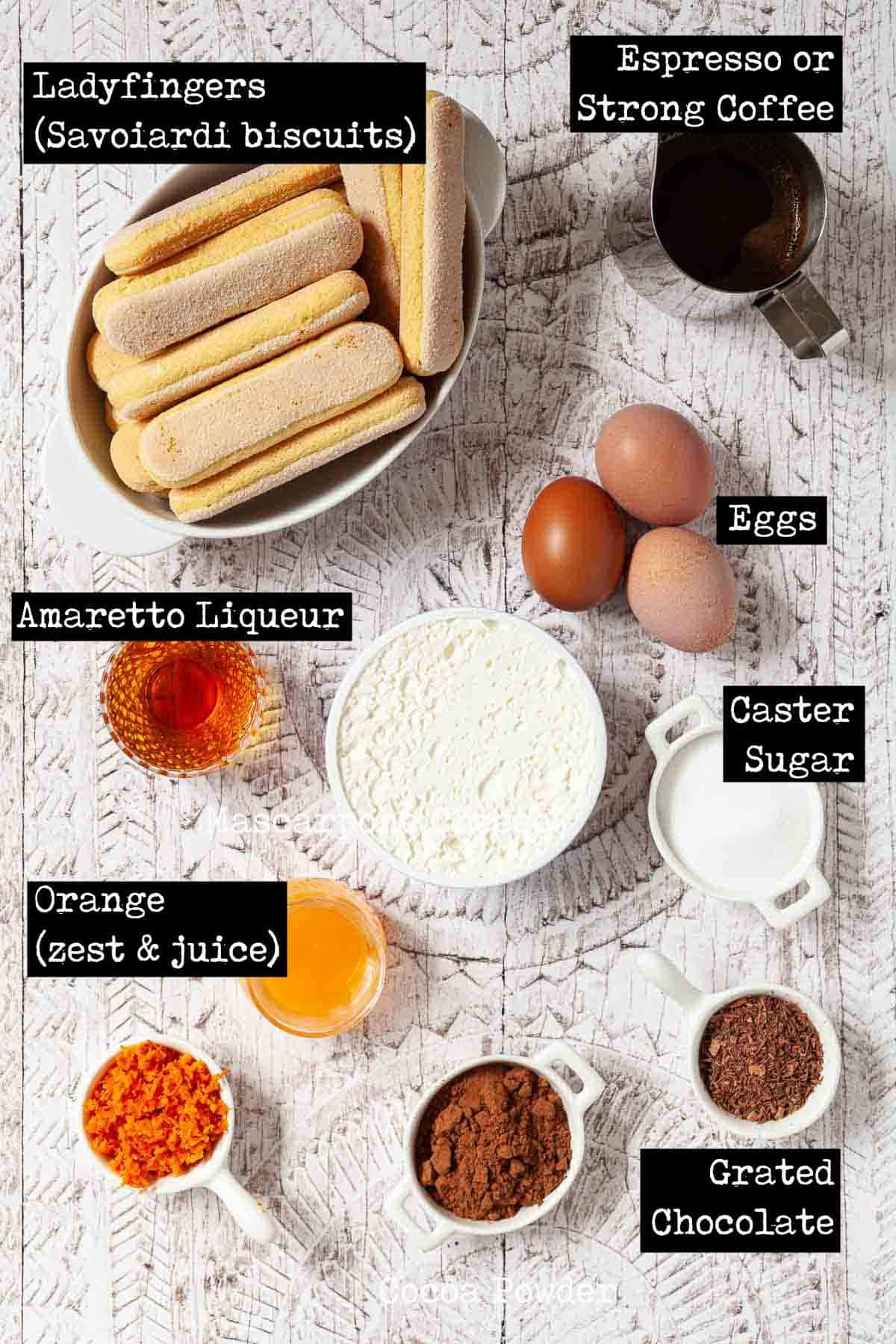 Ingredients for a classic coffee and mascarpone dessert with text overlay
