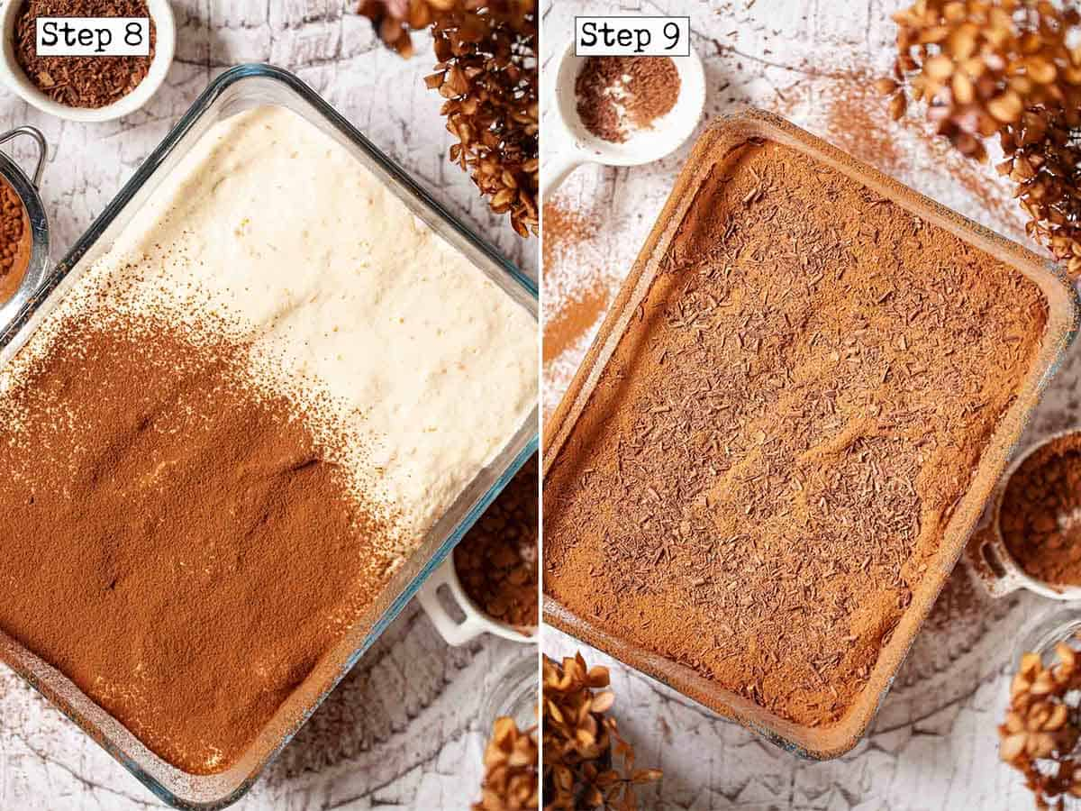 Collage of images showing Italian tiramisu being topped with cocoa and chocolate