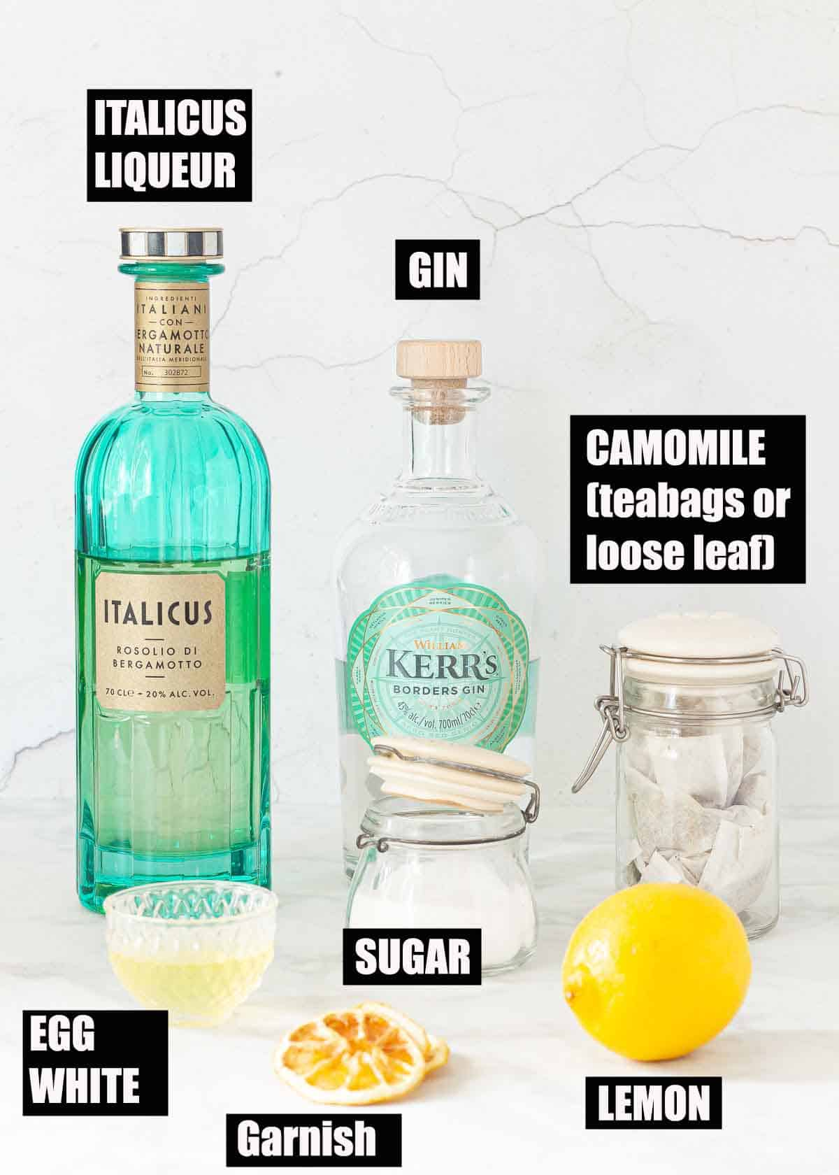 Ingredients for an Italicus cocktail with text overlay