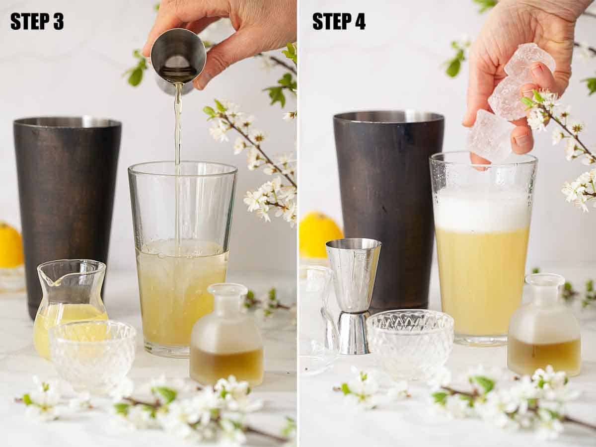 Collage of images showing a bergamot and camomile gin sour being made