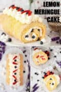 Collage of images showing lemon Swiss roll with text overlay