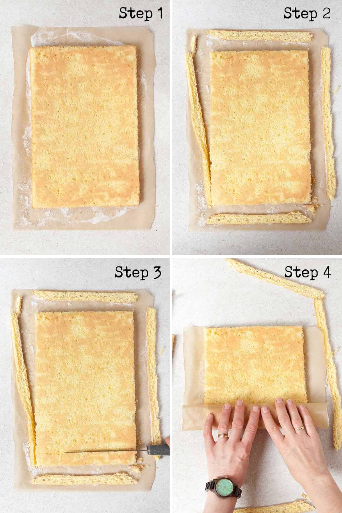 Collage showing how to roll a swiss roll