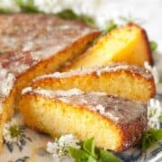 Orange semolina cake with drizzle topping. It is cut into slices