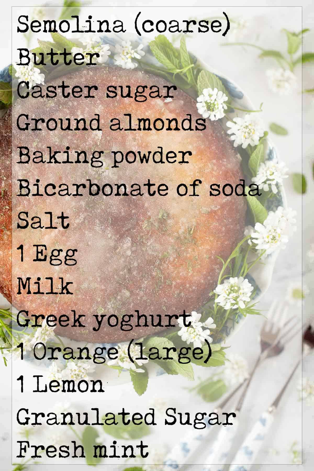 Ingredients for a flourless drizzle bake with text overlay