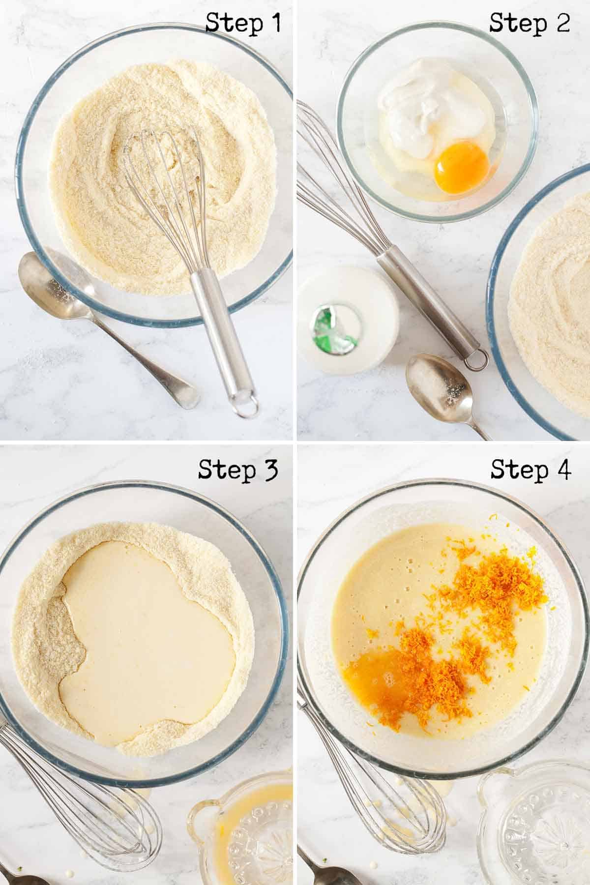 Collage of images showing a flourless cake being made