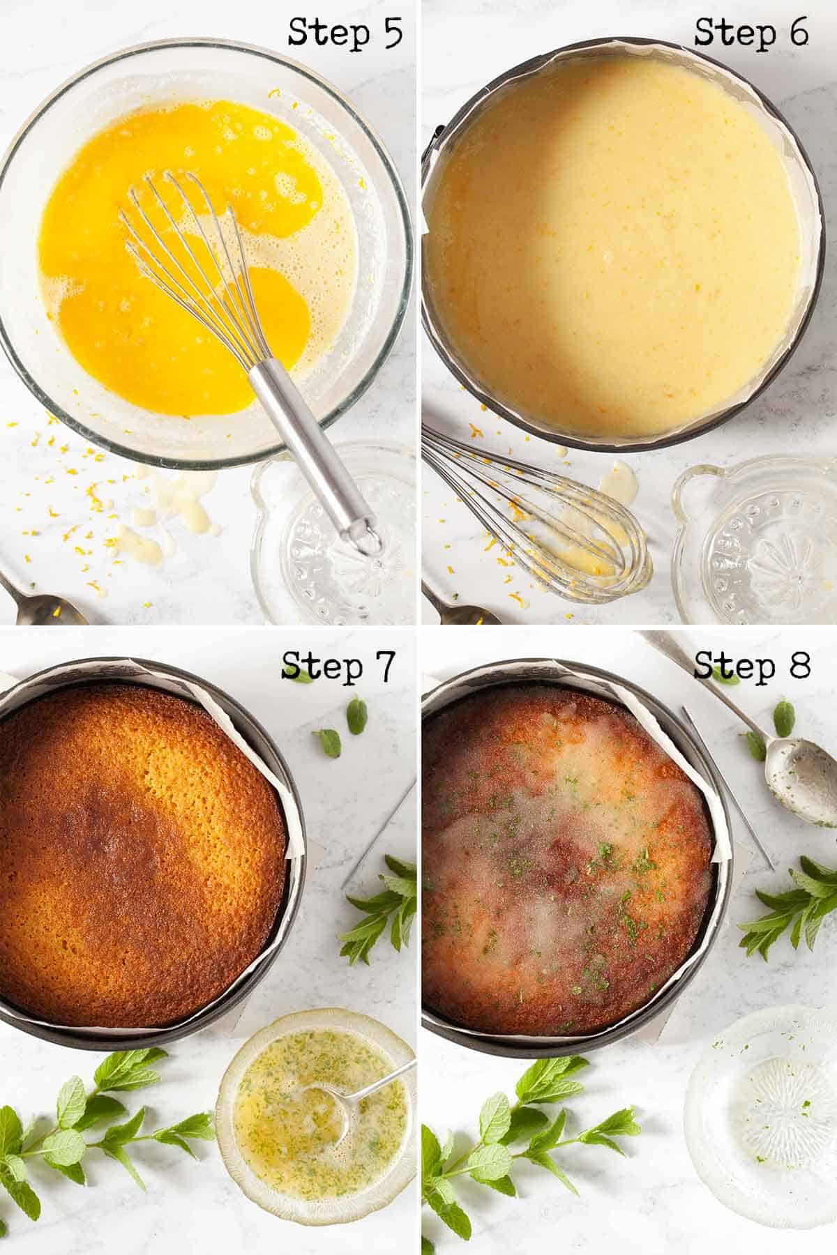 Collage of images showing a drizzle topping being added to a bake