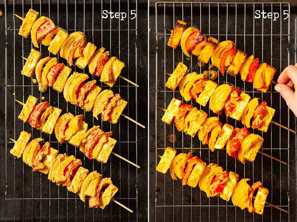 Collage showing food on wooden skewers being cooked
