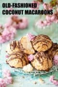 Coconut macaroons on a serving rack with text overlay