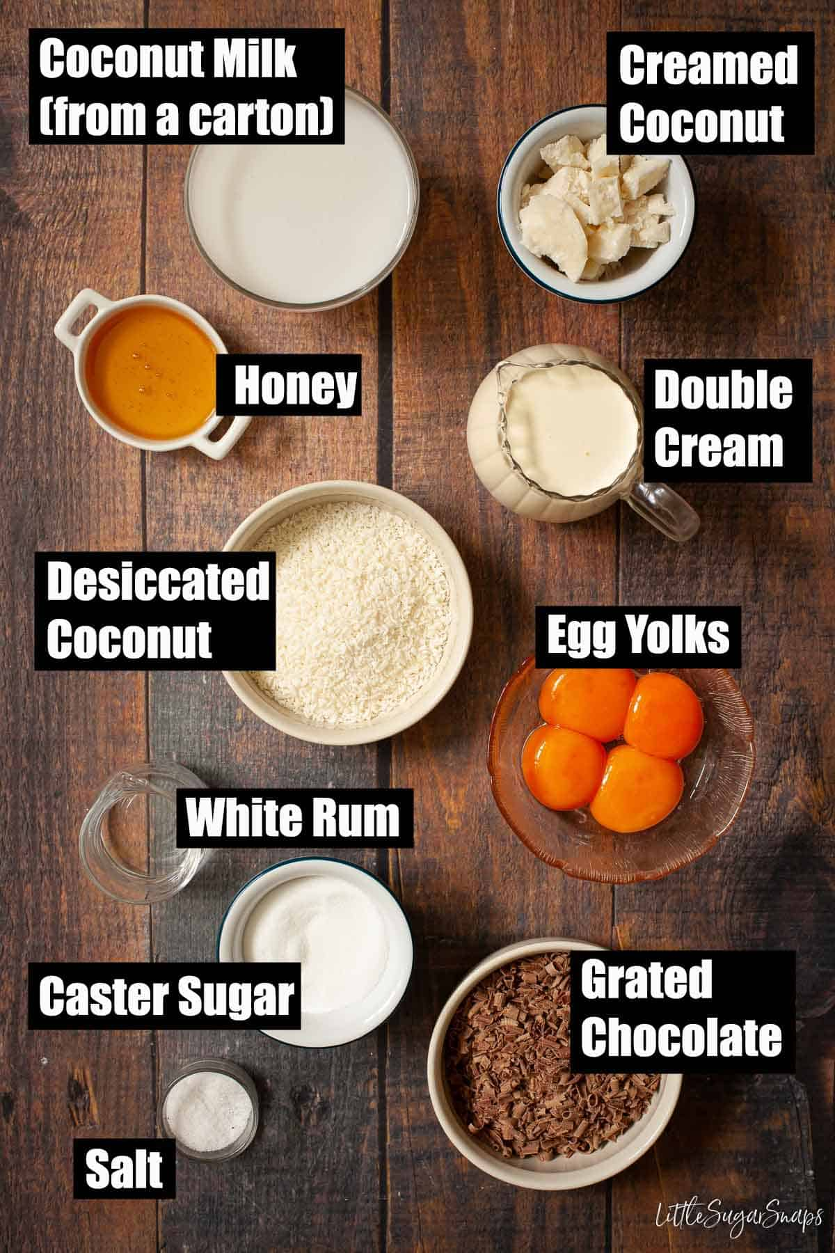 Ingredients for coconut and chocolate ice cream with text overlay