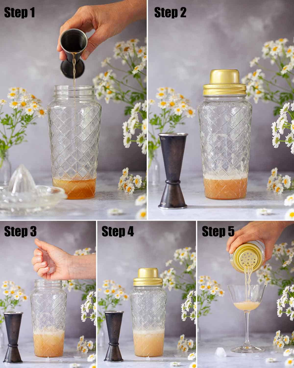 Step by step images to making an alcohol drink with egg white white as an ingredient