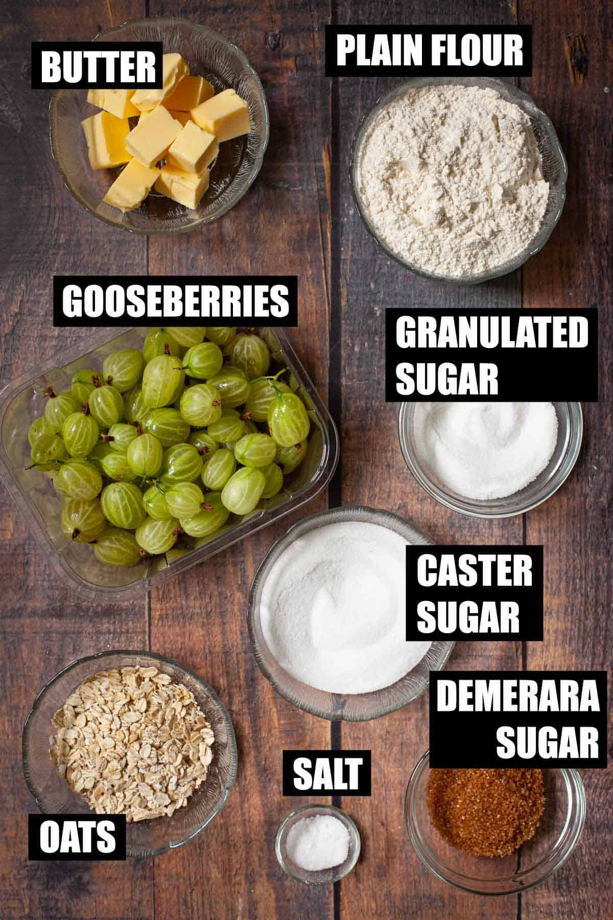Ingredients for a gooseberry dessert with text overlay