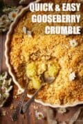 Gooseberry crumble with text overlay