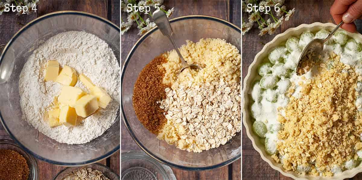 Collage of images showing a fruit crisp being made