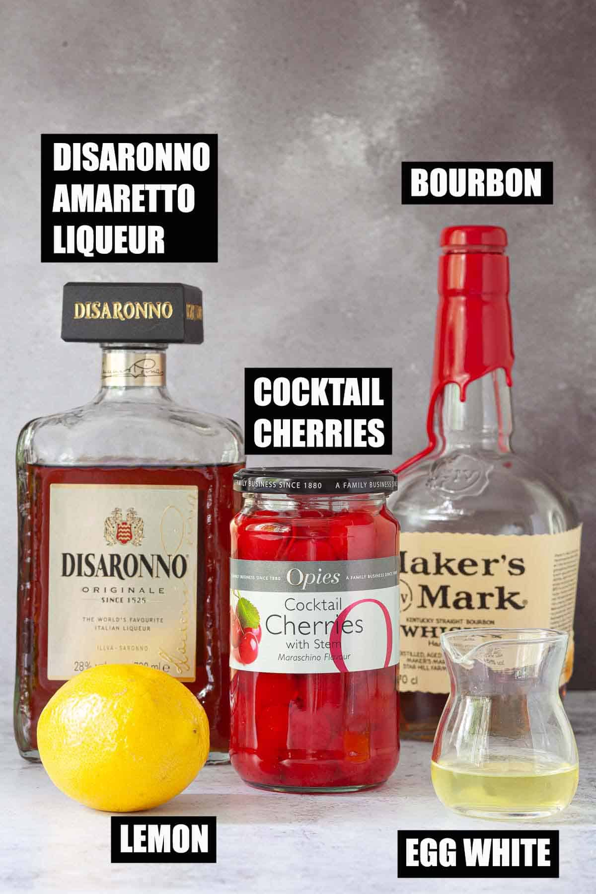 Ingredients for an Amaretto drink with text overlay