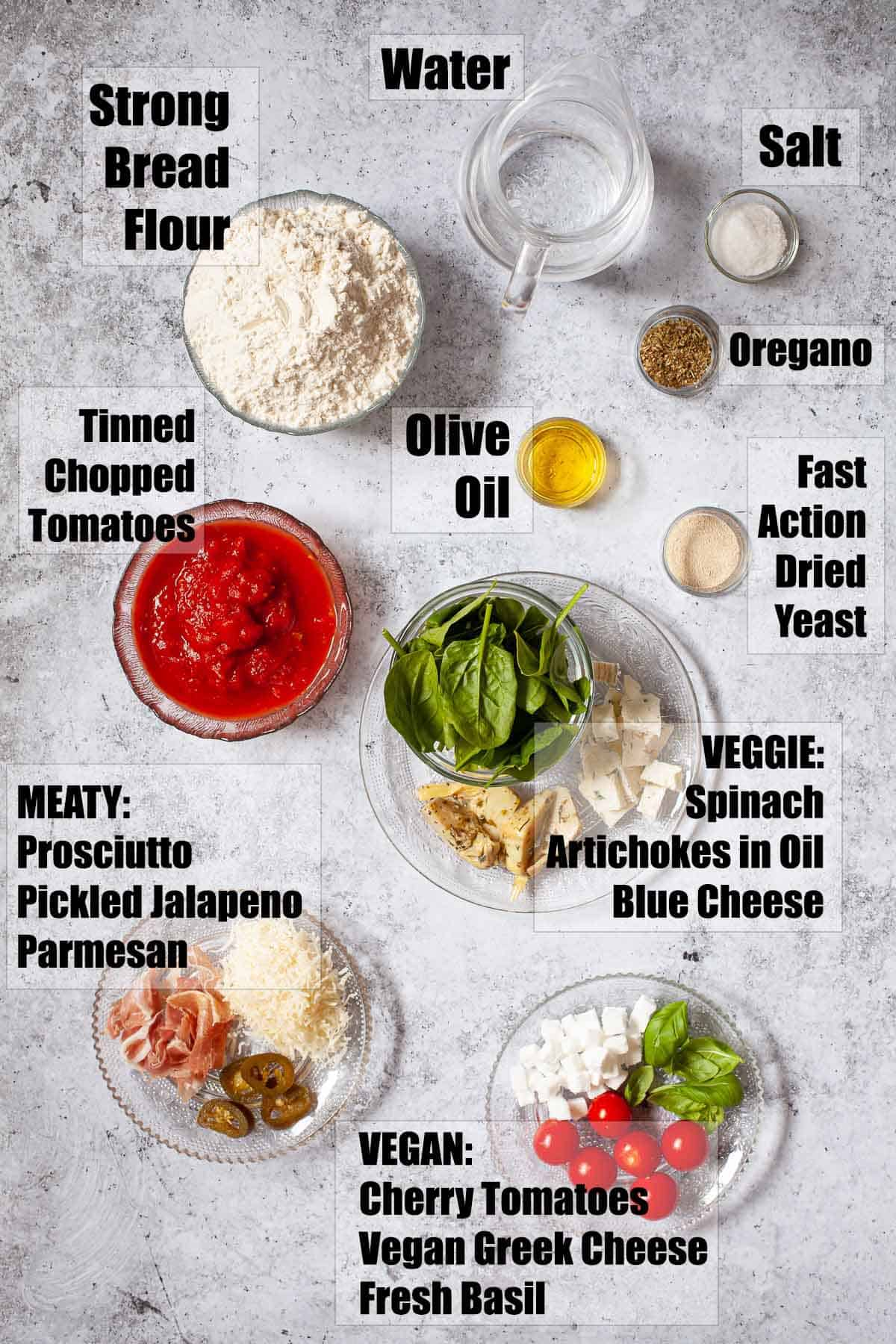 Ingredients for mini pizza with text overlay