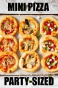 Mini pizza selection with text overlay