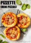 Three mini pizzas with text overlay