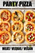 Various mini pizza with text overlay