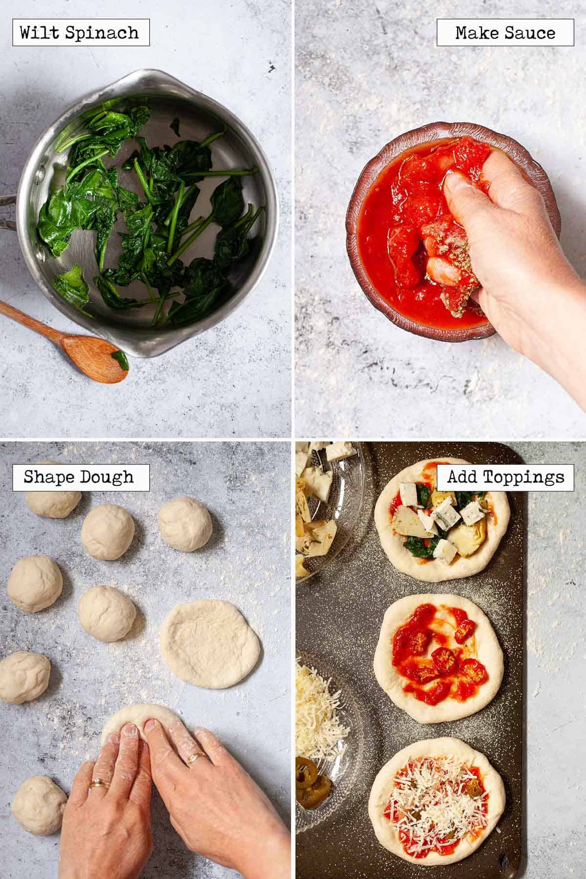 Collage of images showing toppings and pizzette being made
