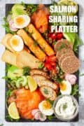 Salmon sharing platter with text overlay