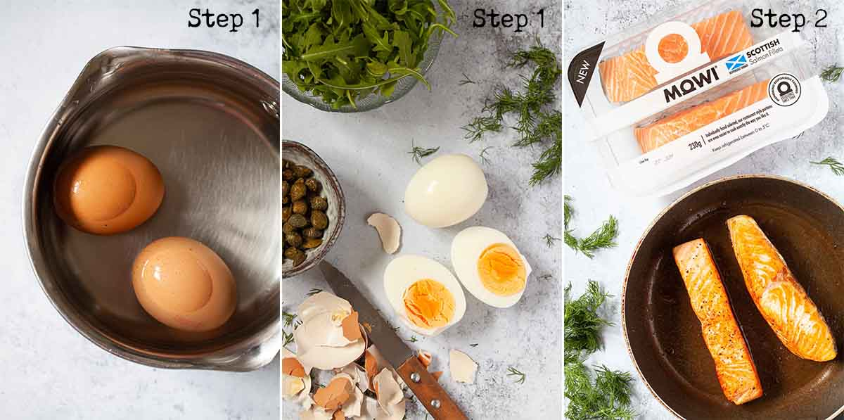 Collage of images showing hard boiled eggs and cooked fish