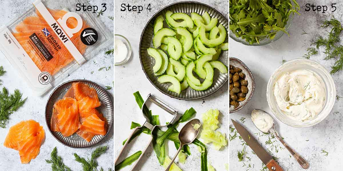 Collage of images showing preparations for a salmon breakfast